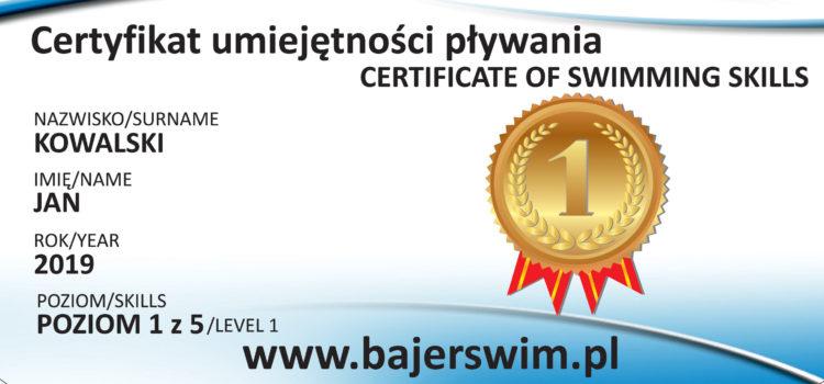 Certyfikat umiejętności pływania | Zamówienia Online